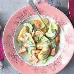 Jersey royal salad with hot-smoked salmon, dill and mustard crème fraîche - Jersey Royal's are potatoes