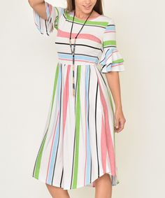 9a316a72453e5 egs by éloges | Pink & Green Stripe Ruffle-Sleeve Midi Dress - Women & Plus