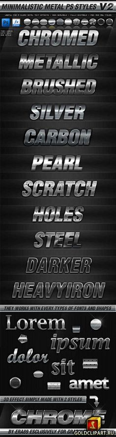 Minimalistic Metal Photoshop Styles V2 13 mb The pack contains: - Detailed Readme - .asl file containing the styles - .psd file - Preview Image