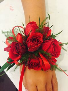 Vibrant Red Spray Rose Corsage