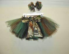 MOSSY OAK camo camouflage daddys girl tutu and hair bow set newborn 0 3 6 9 12 18 months. $17.00, via Etsy.