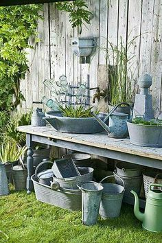 Lovely Potting Benches, Potting Sheds, Garden Tools, Garden Sheds, Garden Supplies, Garden Junk, Garden Art, Watering Cans, Galvanized Buckets