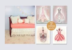 Paris Nursery Decor, Eiffel Tower Wall Art, French Chandelier, Shabby Chic Nursery Art, SET 4, Pink Dress print, Girls room decor, Girls art