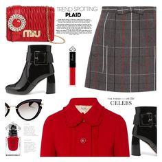 """Head to Toe Miu Miu"" by jan31 ❤ liked on Polyvore featuring Miu Miu, Guerlain, plaid, anklebooties and miniskirts"