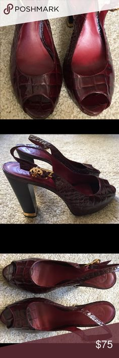 """Trina Turk 'crock' peep toe heels Trina Turk 'crock' look, peep toe heels with gold accents. Beautiful deep red with 4"""" block heel Trina Turk Shoes Heels"""