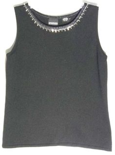 MAGASCHONI-BLOOMINGDALES Black Silk-Cashmere Sweater/Top -Silk-Bead Trim - Small #MagaschoniforBloomingdales #Sleeveless