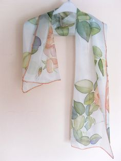 "Hand painted Silk scarf ""Peach roses"""