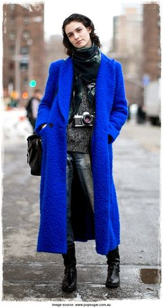 Street Style Inspiration - Manon Leloup Sweet and Charming With Vibrant Blue Coat - Street Style Snapshot