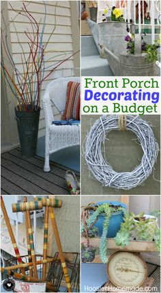 Decorating doesn't have to break the bank! Learn how to decorate your Front Porch on a Budget with items you have around your home! You might just be surprised at what you can use for FREE! Be sure to save these ideas for later and pin to your Decorating Board!
