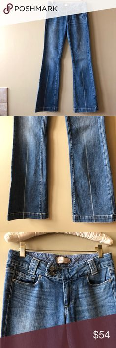 """Paige jeans sweetzer bootcut trousers jeans Paige jeans sweetzer bootcut trousers jeans Great jeans with a distinct bleached out """"seam"""" down the center of the legs. Trousers style hem.  Inseam is 33.5"""", rise is 8"""" and waist measured flat across is 15.25"""". PAIGE Jeans Boot Cut"""