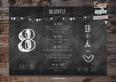 Black board chalk wedding menu and table by SugarApplePrints, $14.00