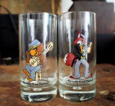 2 vintage 80's Kentucky Fried Chicken KFC glasses Freddie fox and Charlie