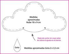patrón nube para móvil de tela cuna de bebe