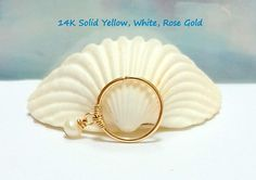 16g 18g 20g 22g  14K Solid Gold Pendant White Pearl 3mm Helix