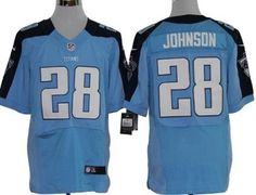 Nike Tennessee Titans #28 Chris Johnson Light Blue Elite Jersey