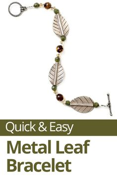 Learn how to make this quick and easy metal leaf bracelet. With a simple pattern and large leaf-shaped beads, you can whip up a single-strand bracelet in just a few minutes. Make this fun fall bracelet in less than an hour. #metal #jewelry #leaf #bracelet
