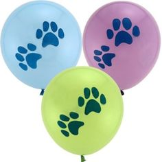 These Party Pups Printed Latex Balloons measure 12 inches each when inflated. These Puppy Prints Balloons are available in a package of 6 which includes an assortment of green, purple and blue. Inflate these balloons to decorate your party space! Puppy Party Supplies, Birthday Supplies, Birthday Ideas, Birthday Parties, Dog Parties, Birthday Bash, Paw Patrol Party, Paw Patrol Birthday, Puppy Birthday