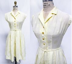 Vintage 1950s Cheery Yellow Cotton Shirtwaist by WearingHistory, $60.00
