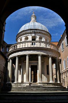 San Pietro in Montori on the Janiculum in Rome. The Tempietto, a small commemorative martyrium in the courtyard, was built by Donato Bramante.