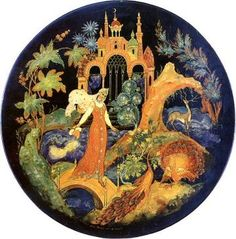 Lyudmila in the garden of Chernomor. A Palekh lacquer plate made in 1962 by the artist Tamara Zubkova (1917-73)