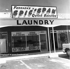 1957 – Ferrara's Spic 'n Span Quick Service Laundry at 8512 NW Avenue, Miami - Amazing Midcentury Photographs of Miami Page 2 of 2 Best of Web Shrine Miami Photos, Laundry, Mid Century, Amazing, Laundry Room, Laundry Rooms, Retro