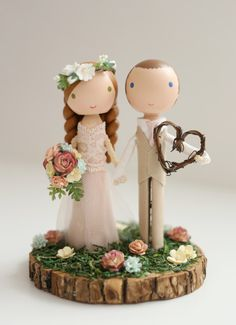 custom wedding cake topper wood slab base - Bake a Cake 2019 Rustic Wedding Cake Toppers, Wedding Topper, Wedding Cakes, Wood Peg Dolls, Clothespin Dolls, Selling Handmade Items, 3d Quilling, Wood Slab, Crafts