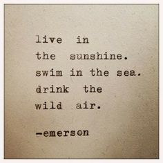 """Love Quotes : """"Live in sunshine. Swim in the sea. Drink the wild air."""" - Ralph Waldo Emerson - Quotes Sayings Pretty Words, Beautiful Words, Cool Words, Great Quotes, Quotes To Live By, Inspirational Quotes, Quirky Quotes, Words Quotes, Me Quotes"""