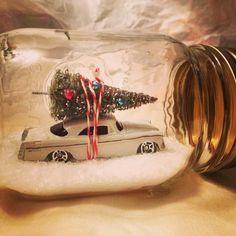 Christmas hostess gift. Epsom salt, car, bottle brush tree.