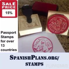 Awesome passport stamps for over 13 countries including Chile, Bolivia, Peru, Ecuador, Spain, Mexico, and more! And this week they are 15% off. Available only at SpanishPlans.org/stamps
