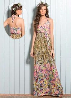 Vestido Longo Decote V Floral Mix - Posthaus