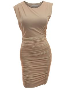 Doublju Fitted Dress with Pointed Shoulder and Shirring           ($19.99)