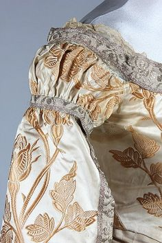 A Charles Frederick Worth brocaded satin Russian court dress, circa 1890. Detail