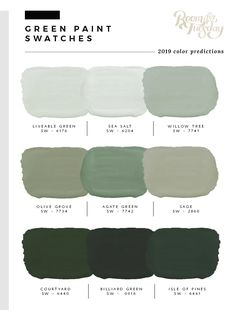 I've looked through the swatch books and have compiled the 2019 predicted paint colors post! If you're wondering what paint swatches will be popular in the year Green Paint Colors, Paint Color Schemes, Bedroom Paint Colors, Interior Paint Colors, Paint Colors For Home, Wall Colors, House Colors, Interior Design, Bright Colors