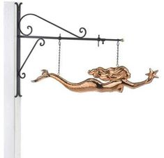 Shop for Hanging Mermaid with Starfish Pure Copper Weathervane Sign with Decorative Bracket Nautical Decor by Good Directions. Ships To Canada at Overstock - Your Online Home Decor Outlet Store! Mermaid Wall Decor, Fish Wall Decor, Mermaid Art, Home Depot, Porch Wall Decor, Decorative Brackets, Outdoor Statues, Mason Jar Flowers, Nautical Home
