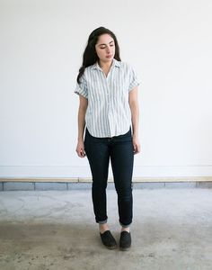 Striped Liz Wear Button Up / Women's Small Petite by MyronStreet