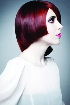 Asymmetrical Red Head with Angular Cuts
