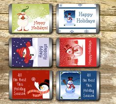 Mini Candy Bar Wrappers - Christmas Candy Wrapper, Snowman Candy Wrapper, Christmas Wrap, Stocking Stuffer, Christmas Gift Tag, Holiday Wrap by LittlePrintsOttawa on Etsy