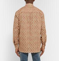 Saint Laurent Paisley-Patterned Cotton Grandad-Collar Shirt