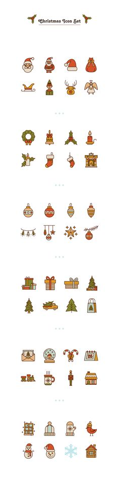 Christmas icon set on Behance Happy Christmas Day, Christmas Doodles, Christmas Icons, Christmas Art, Christmas Stickers, Sketch Note, Simple Line Drawings, Doodle Icon, Icon Design