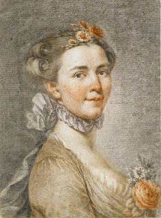 German School, 18th Century                                PORTRAIT OF A LADY WITH FLOWERS IN HER HAIR AND BODICE