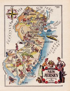 Pictorial Map of New Jersey from 1946 by French artist by artdeco