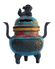 Chinese Bronze Turquoise Cloisonne Tri legs Ding Incense Burner With Foo Dog Cover cs646S