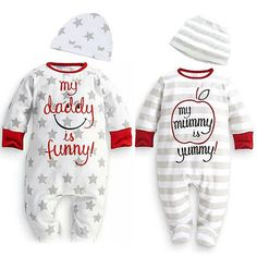 >> Click to Buy << Hot Baby Boy Girl Mum Dad Funny Newborn Infant Long Sleeve Romper Hat 2PCS Outfits Set Star Stirpe Cotton Clothing 0-18M #Affiliate