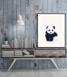 little panda bear .baby animal portraits.colorful by oxleystudio