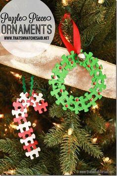 I have a small obsession with puzzle pieces! I love reusing them! Today I am sharing some simple Puzzle Piece Ornaments in the shapes of Candy Canes and Wr