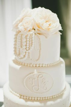 Wedding Cake - Pearl & Rose Topper - Monogram - Photography: onelove photography - onelove-photo.com -   See More on #smp here: http://www.stylemepretty.com/northwest-weddings/2014/04/25/elegant-black-tie-seattle-golf-club-wedding/
