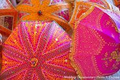 Cute umbrellas for bridesmaids at an Indian wedding.