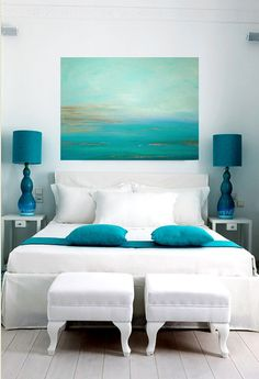 Turquoise Ocean Abstract Original Painting by OraBirenbaumArt, $365.00