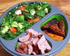 "Herb ""Sweet"" Salad, Apple Sausage and Sweet Potato Fries #Paleo #Glutenfree #Recipe"