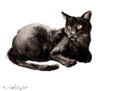 Black cat, original watercolor painting, 12 X 9in , cat lover art, black cat art, watercolor animals via Etsy